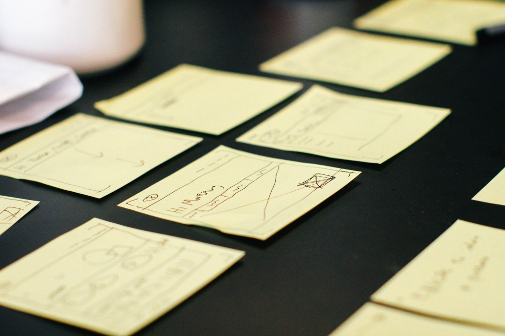 Planning an article for your blog using post it notes