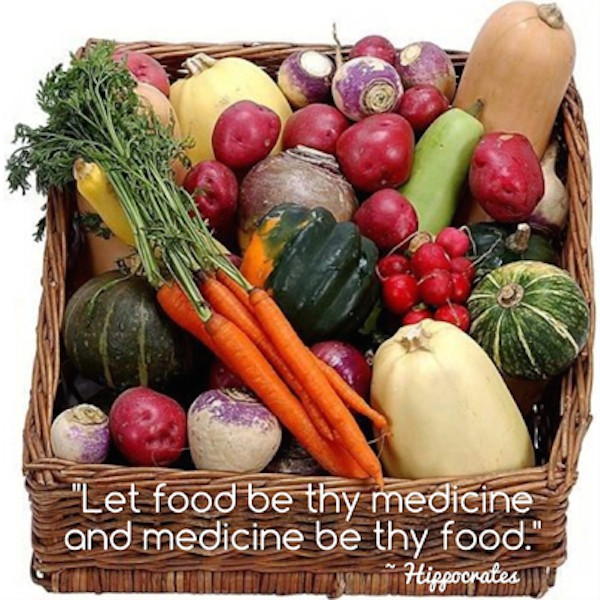 Let food be thy medicine - Hippocrates. Photo of veg in a basket with quote.