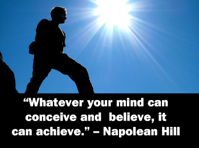 Whatever your mind can conceive and achieve - Napoleon Hill quote on photo