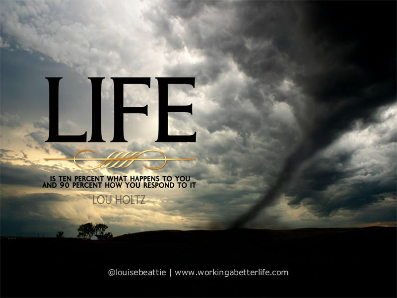 life is ten percent what happens to you quote by Lou Holtz on moody photo background of twister in the landscape