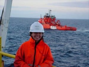 Louise working offshore in the oil industry